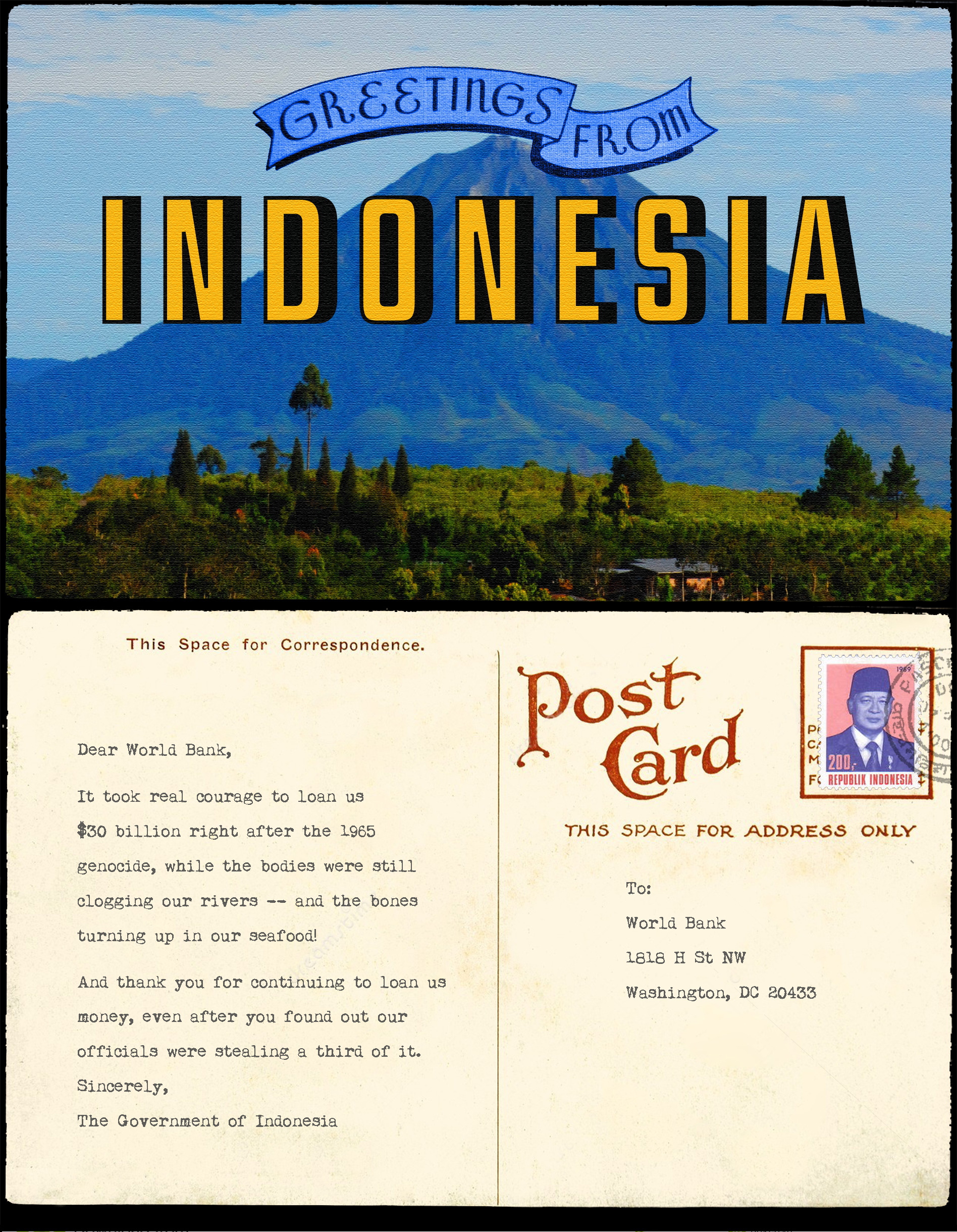 Found buried deep in the archives taok greetings from indonesia to world bank m4hsunfo Choice Image