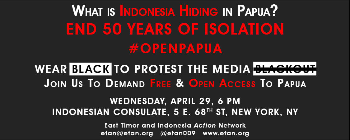 Demonstrate for access to Papua, April 29, 2015, NYC #openpapua