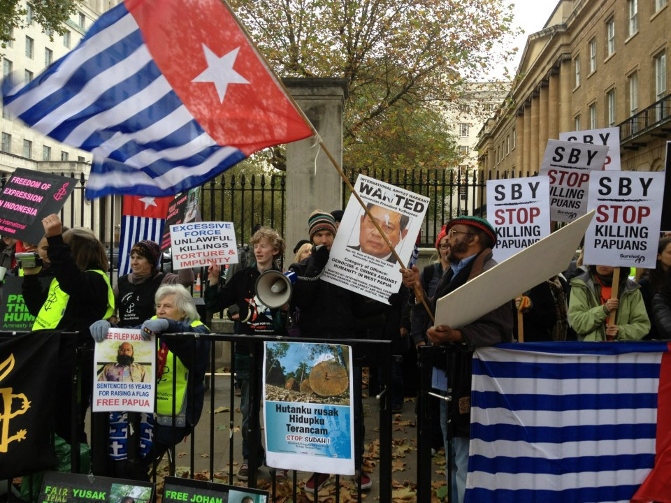 Protest in London during visit of Indonesia President SBY