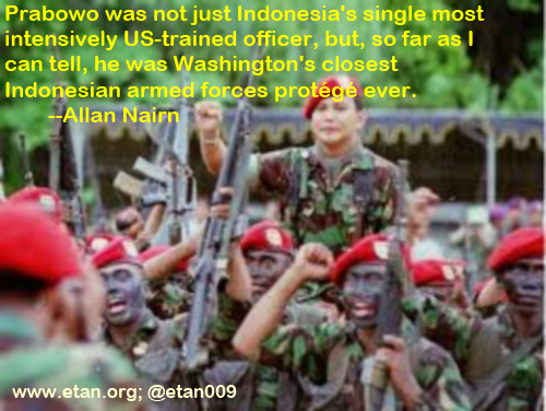 Prabowo with troops. Washington's closest protege.