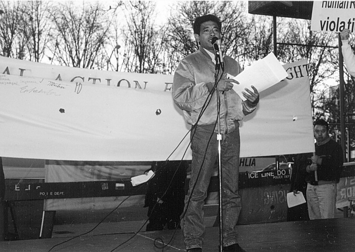 Fernand 'Lasama' Araujo speaking in New York City, Dec. 10, 1998