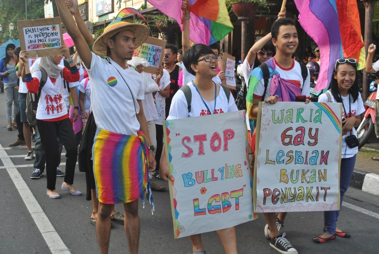 LGBT participate in parade as a part of a of a festival in Yogyakarta.