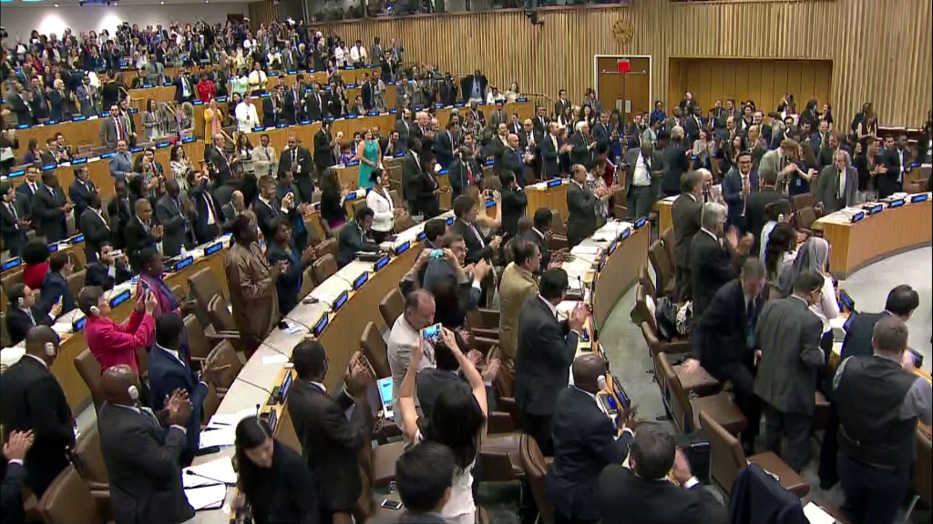 UN delegates applaud adoption of nuclear weapons ban. UN Photo
